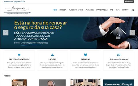 Screenshot of Home Page horizonteseguros.com.br - Horizonte Corretora de Seguros - captured July 14, 2018