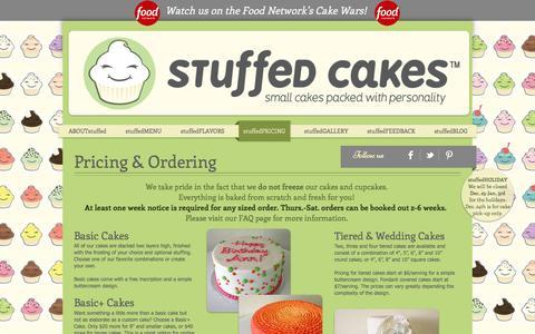 Screenshot of Pricing Page stuffedcakes.com - Stuffed Cakes   Custom Cakes   Seattle - captured Dec. 18, 2016