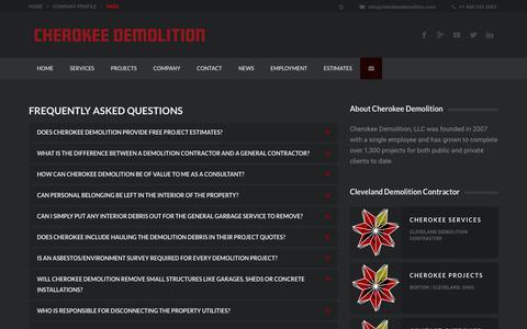Screenshot of FAQ Page cherokeedemolition.com - FAQS | Demolition + Dry Bulk Transport + Asbestos + Excavation | Cleveland, Ohio - captured July 29, 2017