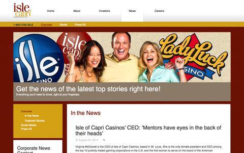 Screenshot of Press Page islecorp.com - Isle of Capri Casinos, Inc. Newsroom - captured Oct. 6, 2014