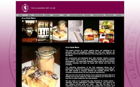 Screenshot of Menu Page glasgowartclub.co.uk - A La Carte Menu / The Glasgow Art Club - captured Sept. 29, 2014