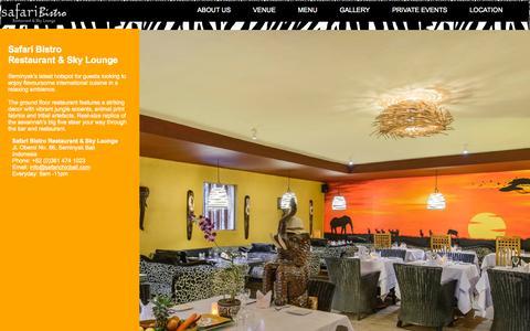 Screenshot of Home Page safarichicbali.com - Safari Bistro - Restaurant and Sky Lounge - Seminyak Bali - captured Sept. 6, 2015