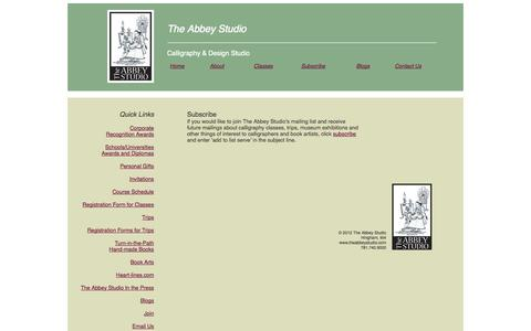 Screenshot of Signup Page theabbeystudio.com - subscribe - captured Oct. 26, 2014