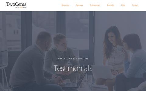 Screenshot of Testimonials Page twocentsgroup.com.au - TwoCents Testimonials   Brisbane, Sydney   Marketing, Branding, Advertising - captured Oct. 10, 2015