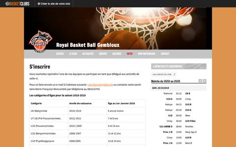 Screenshot of Signup Page rbbgx.be - S'inscrire | Royal Basket Ball Gembloux - captured Oct. 19, 2018