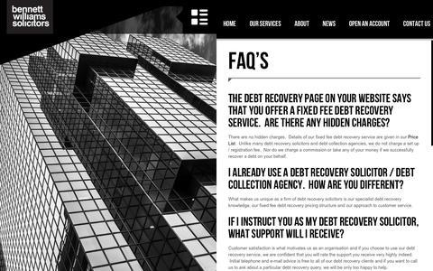 Screenshot of FAQ Page bennettwilliamssolicitors.com - FAQ's - Bennett Williams Solicitors - captured July 29, 2016