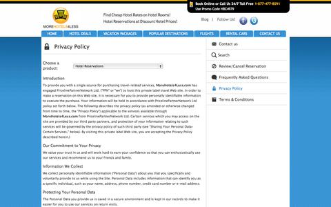 Screenshot of Privacy Page rezserver.com - Our Privacy Policy - MoreHotels4Less.com - captured Oct. 26, 2014