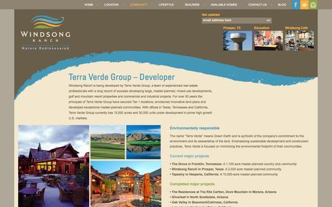 Screenshot of Developers Page windsongranchliving.com - Terra Verde Group - Developer of Windsong Ranch - captured Nov. 4, 2014