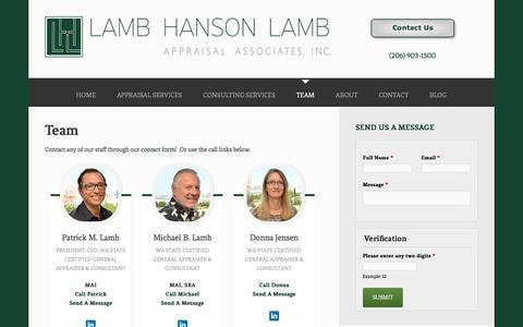 Screenshot of Team Page lambhansonlamb.com - Team - Lamb Hanson Lamb Appraisal Associates, Inc. - captured Jan. 21, 2016