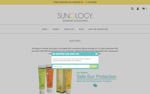 Screenshot of About Page sunology.com - Our Story | About Sunology Mineral Sunscreen - captured Oct. 17, 2018