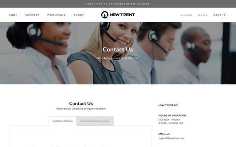 Screenshot of Contact Page newtrent.com - Contact Us - captured Sept. 29, 2018