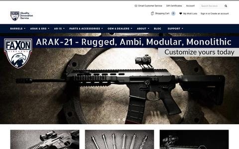 Screenshot of Home Page faxonfirearms.com - Faxon Firearms - captured May 10, 2017