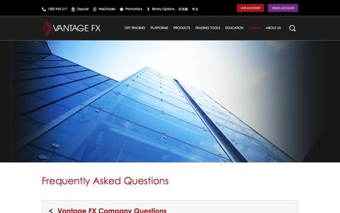 Screenshot of Support Page vantagefx.com - Online Forex Trading Troubleshooting, Help & FAQs | Vantage FX - captured Jan. 15, 2016