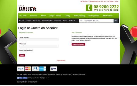 Screenshot of Login Page kambos.com.au - Customer Login - captured Feb. 12, 2016