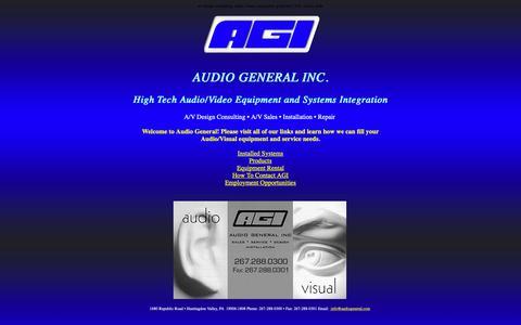 Screenshot of Home Page audiogeneral.com - Audio General Inc. - captured Nov. 6, 2018