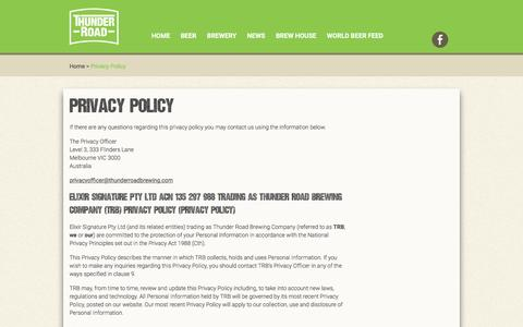 Screenshot of Privacy Page thunderroadbrewing.com - Privacy Policy - Thunder Road Brewing Company - captured Dec. 2, 2016