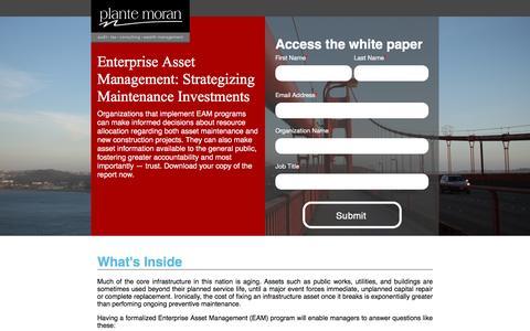 Screenshot of Landing Page plantemoran.com - Enterprise Asset Management White Paper | Plante Moran - captured Aug. 23, 2016