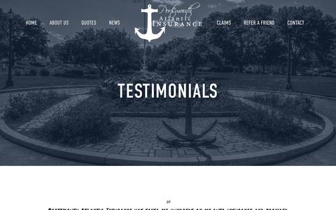 Screenshot of Testimonials Page portsmouthatlanticins.com - Testimonials — Portsmouth Atlantic Insurance - captured Jan. 30, 2016