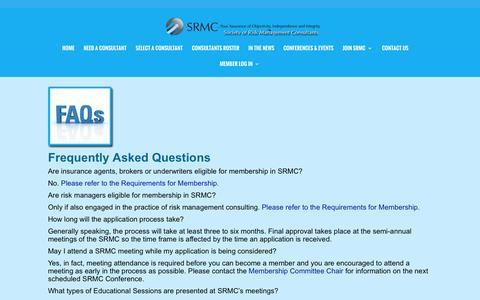 Screenshot of FAQ Page srmcsociety.org - FAQS |Society of Risk Management Consultants. - captured Feb. 15, 2016
