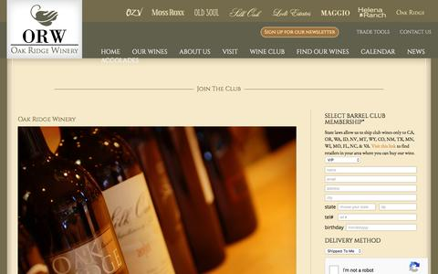 Screenshot of Signup Page oakridgewinery.com - Join The Club - Oak Ridge Winery - captured Dec. 17, 2016