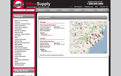 Screenshot of Locations Page dillonsupply.com - Locations | Dillon Supply Company - captured Oct. 5, 2014