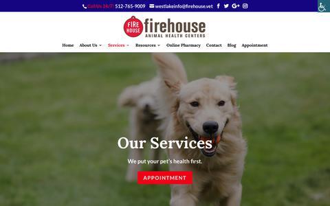 Screenshot of Services Page firehouseaustin.com - Our Services - Firehouse Animal House Austin - Austin, TX Veterinarian - captured Oct. 10, 2018