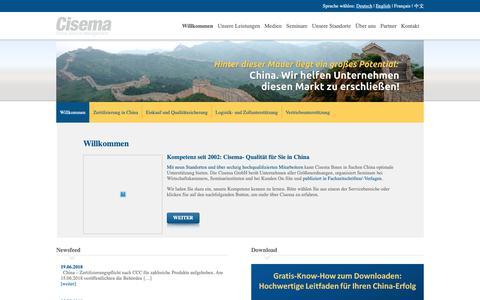 Screenshot of Home Page cisema.at - China Zertifizierung, Einkauf und Qualitätssicherung - Cisema - captured Oct. 26, 2018