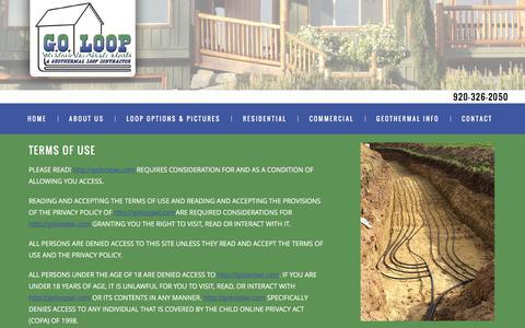 Screenshot of Terms Page goloopwi.com - Terms of Use | GO Loop GEO - captured Jan. 24, 2016