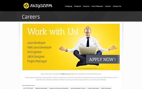 Screenshot of Jobs Page avsystem.com - Careers | AVSystem – Device Management Solutions - captured Sept. 30, 2014
