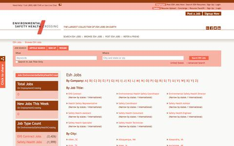 Screenshot of Jobs Page environmentalsafetyhealthcrossing.com - Browse Esh Jobs By Job Title, City, State | EnvironmentalSafetyHealthCrossing.com - captured July 20, 2018