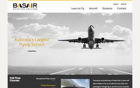 Screenshot of Home Page basair.com.au - Main Page - captured Oct. 5, 2014