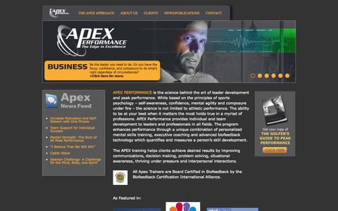 Screenshot of Home Page apexperform.com - Apex Performance Home - Apex Performance - captured Oct. 4, 2014