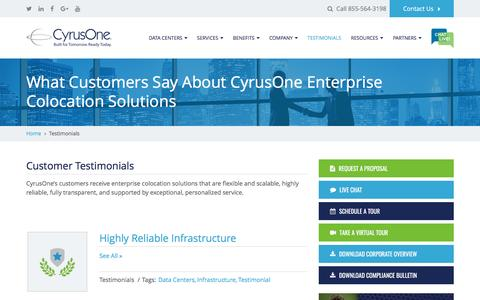 Screenshot of Testimonials Page cyrusone.com - Enterprise Colocation | What Our Customers Say | CyrusOne - captured May 9, 2017