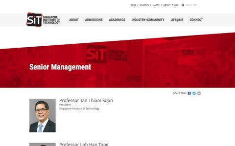Screenshot of Team Page singaporetech.edu.sg - Senior Management | Singapore Institute of Technology - captured May 23, 2017