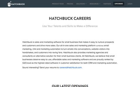 Screenshot of Jobs Page hatchbuck.com - Careers - Hatchbuck - captured Dec. 27, 2017