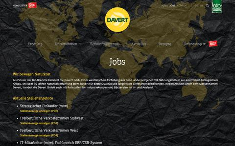 Screenshot of Jobs Page davert.de - Jobs | Davert GmbH - Bio Naturkost - captured Aug. 5, 2018