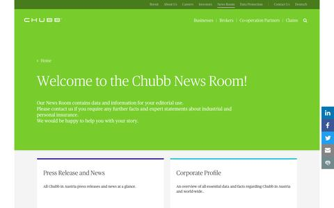 Screenshot of Press Page chubb.com - Welcome to our News Room - Chubb - captured March 9, 2018