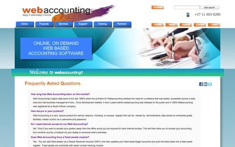 Screenshot of FAQ Page webaccounting.co.za - FAQ - captured Oct. 7, 2014