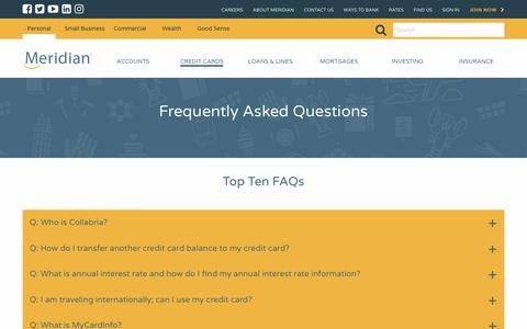 Screenshot of FAQ Page meridiancu.ca - Meridian - Meridian, Personal Credit Cards Benefits, Frequently Asked Questions - captured Oct. 18, 2017