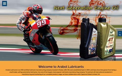 Screenshot of Home Page arabollube.com - Welcome to Arabol Lubricants - captured Nov. 21, 2016