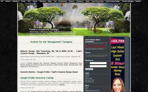 Screenshot of Team Page toddscreativedesign.com - Management | Todd's Creative Design - captured Sept. 30, 2014