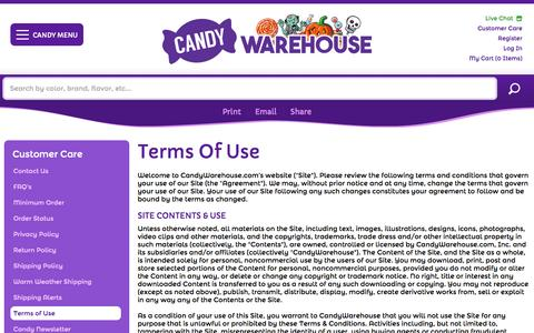 Screenshot of Terms Page candywarehouse.com - Terms Of Use | Terms of Use | CandyWarehouse.com Online Candy Store - captured Oct. 1, 2015