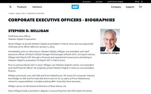 Screenshot of Team Page wdc.com - Corporate Executive Officers - Biographies | Western Digital (WD) - captured July 13, 2018