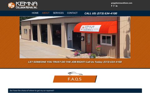 Screenshot of FAQ Page kemnacollision.com - Kemna CollisionJefferson City MO | Kemna Collision | Auto Body - captured Oct. 15, 2018