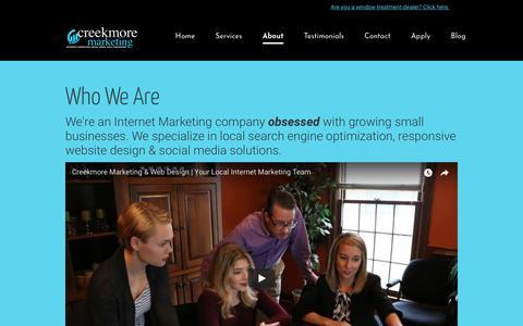 Screenshot of About Page creekmoremarketing.com - Search Engine Optimization Lexington KY - #1 SEO Company - captured July 22, 2018