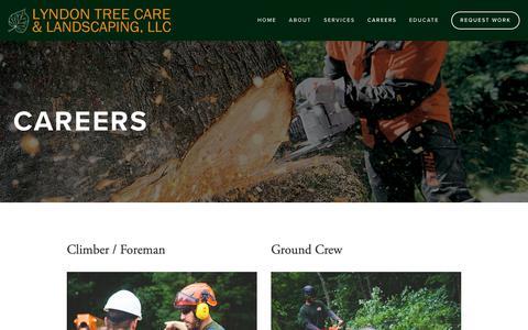 Screenshot of Jobs Page lyndontreecare.com - Tree Industry Career Opportunities | Lyndon Tree Care | Lyndon Tree Care & Landscaping, LLC - captured Sept. 30, 2018
