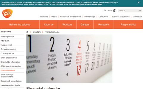 Screenshot of gsk.com - Financial calendar | GSK - captured March 31, 2016