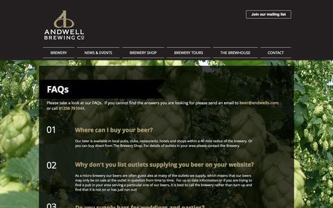Screenshot of FAQ Page andwells.com - Andwell Brewing Company | FAQs - captured Feb. 27, 2017