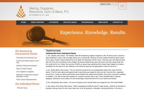 Screenshot of Testimonials Page hdsdblaw.com - Testimonials | Hiering, Dupignac, Stanzione, Dunn & Beck, PC | Toms River New Jersey - captured Sept. 28, 2018