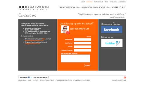 Screenshot of Contact Page joolzhayworth.com - JOOLZ HAYWORTH : CONTACT - captured Oct. 6, 2014